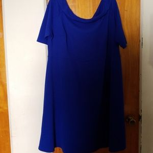 Blue bardot knee length fit and flair dress